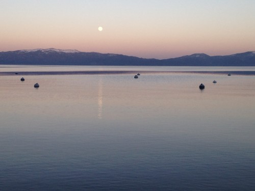 Sunset and full moon over Lake Tahoe