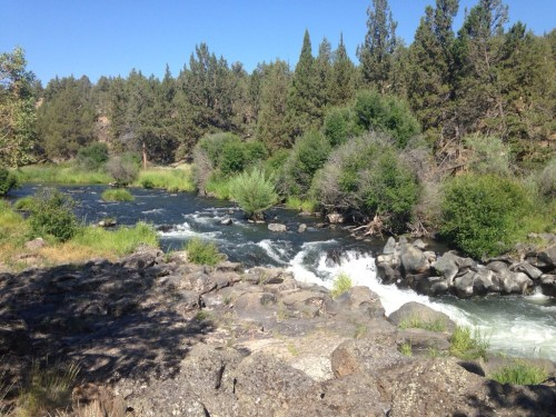 river view of swimming hole, Deschutes River, Oregon