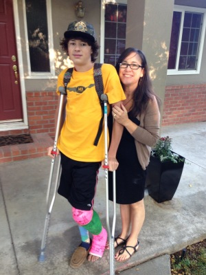 first day of school, on crutches